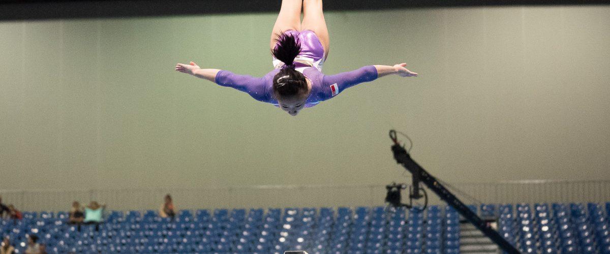 Girl In Air Gymnastics